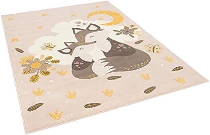 Pergamon Kinderteppich Samba Kids Fuchs Mond und Sterne Beige Gelb in 5 Gr/ö/ßen