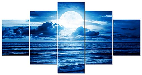 Pyradecor Blue Clouds Modern 5 Panels Moon Sea Beach Canvas Wall Art Large Gallery Wrapped Landscape Giclee Canvas Prints Pictures Artwork Paintings for Living Room Bedroom Home Decorations L by Pyradecor