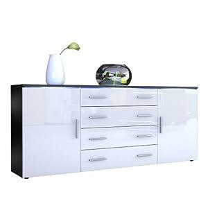 Vladon Buffet Dressoir Faro V2, Corps en Noir mat/Façades en Blanc haute brillance