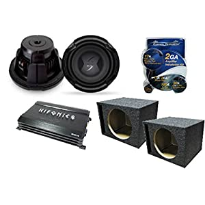 """Complete Auto Subwoofer Amp Combo Package Including (2) Lightning Audio L3-D210 10"""" Speakers, Hifonics HFA600.4 600W Amplifier, (2) Q Power HD110 Vented Boxes & AKIT-2 Wiring Kit"""