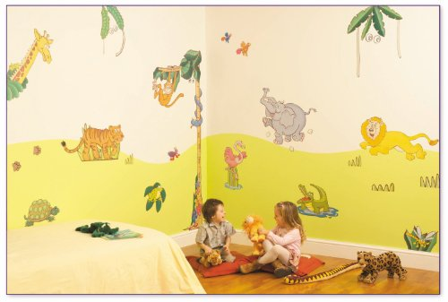 FunToSee Jungle Safari Nursery and Bedroom Make-Over Decal Kit, Jungle