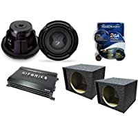 (2) 10 Subwoofers & 600W Amplifier Combo Package w/Vented Boxes & Amplifier Installation Kit for Car Truck Van or SUV