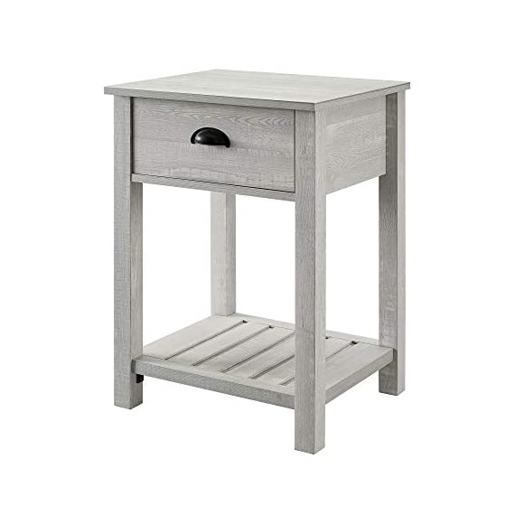Walker Edison Furniture Company Farmhouse Square Side Accent Set Living Room End Table with Storage Door Nightstand Bedroom, 18 Inch, Stone Grey - 1 drawer farmhouse style nightstand Painted metal half circle handle Open and closed storage - nightstands, bedroom-furniture, bedroom - 41Wc 6KLZML. SS570  -