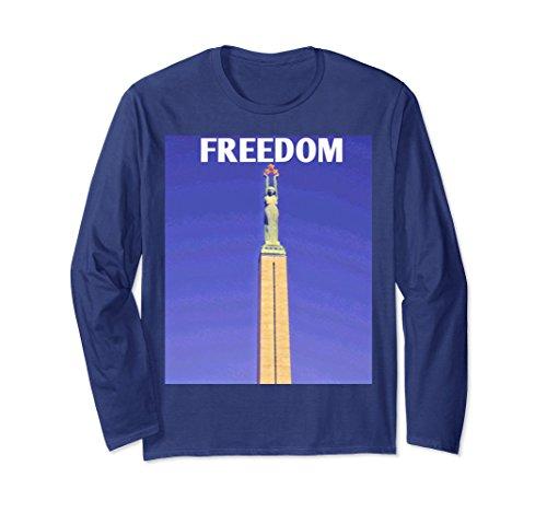 Freedom Monument (Unisex Freedom Riga Freedom Monument long-sleeved shirt Small Navy)