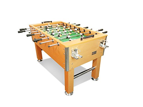 "T&R sports 60"" Soccer Foosball Table Heavy Duty for Pub Game Room with Drink Holders, Oak"