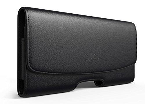 iPhone 6 Plus Leather Belt Case Clip Holster Pouch Carrying Sleeve Holder (Fits iPhone 6 Plus With Otterbox Defender Case / Symmetry Case / Commuter Case / Lifeproof Case On) - Black