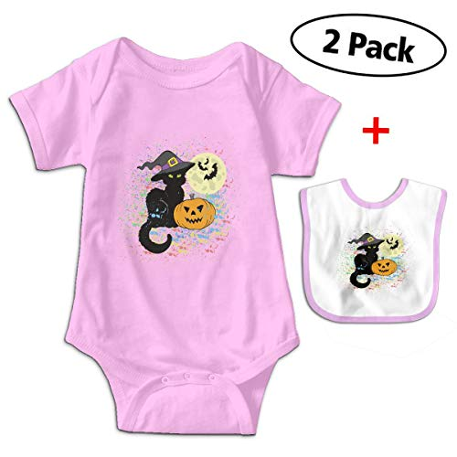 Leopoldson Watercolor Pumpkin Halloween Cat Baby Bodysuits Short Sleeve Infant Jumpsuit with Baby ()
