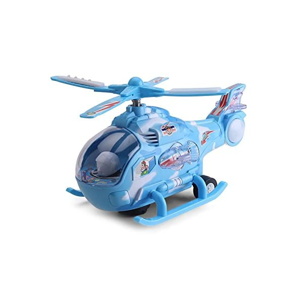 Banshika toys & gifts Helicopter Toy with Colorful 3-D Lights Swirls Bump and Go Action Lights and Music Effects for Kids (Sky Blue) (Small)