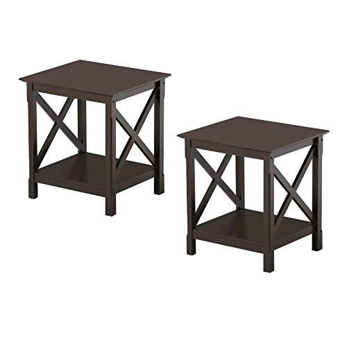 - Cypress Shop End Side Table Accent Coffee Table Nightstand X Cross Style Sofa Table Beside Wood Bedroom Side Bed Desk Couch Side 2 Tiers Organizer Shelf Rack Storage Cabinet Home Furniture Set of 2