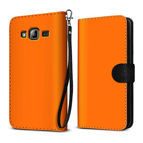 Samsung Galaxy J3 J310 J321 2016 Amp Prime Express Prime J3 V S320 Case, FINCIBO Ultra Slim Protective Flip Canvas Wallet Pouch W/ Credit Card Holder TPU Cover, Solid Neon Fluorescent Orange Color