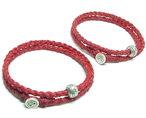 2 Pcs BUSABAN Asian Handmade Wrap Bracelet 925 Silver Beads OHM Button Red Braided Wax String ()