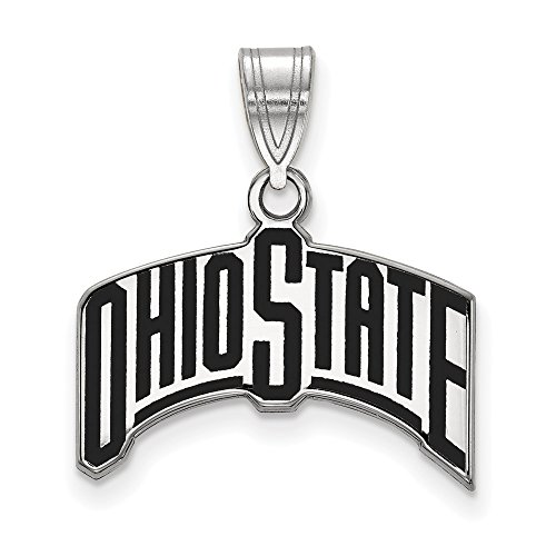 925 Sterling Silver Officially Licensed Ohio State University College Large Enamel Pendant (23 mm x 19 mm) by Mia Diamonds and Co.