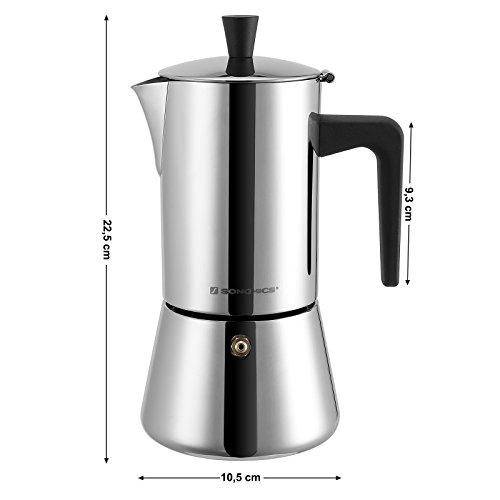 SONGMICS 18/8 Stainless Steel Espresso Maker, Stovetop Moka Pot, 300ml 6 Cups Coffee Brewer, Dishwasher Safe UKEM10BK