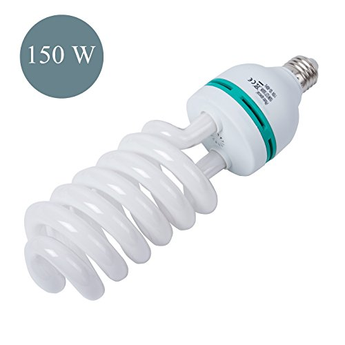 150W Photography Compact Fluorescent CFL Daylight Balanced Bulb with 5500K Color Temperature for Photography & Video Studio Lighting by G-raphy