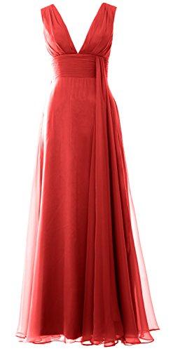 MACloth Women V Neck Long Bridesmaid Dress Chiffon Wedding Party Evening Gown Rojo