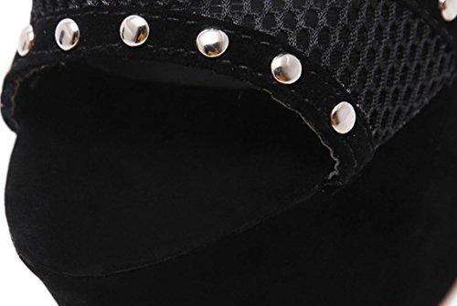 YCMDM donne di sandali tacco alto Primavera pizzo Rivetti Mesh sandali freddi Belle singola scarpa Casual Shoes , black , 38