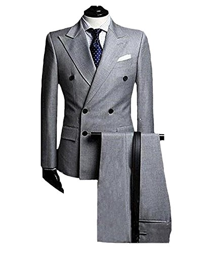 Breasted Jacket Double Tuxedo Peak (SIPEI Grey Double Breasted Mens 2 PC Evening Suit Formal Business Wedding Tuxedo)
