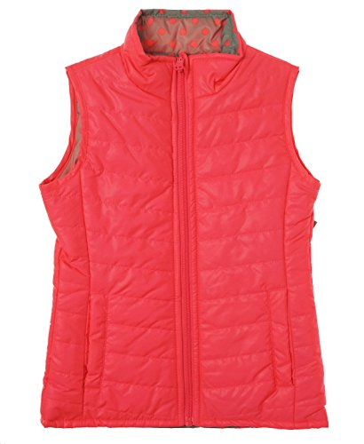 Layer 8 Little Girl's Packable Reversible Puffer Vest Punch (Pink Reversible Vest)