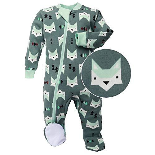 ZippyJamz Organic Baby Footed PJs w/Inseam Zipper ~ Quiet Fox Green (18-24 Mos)