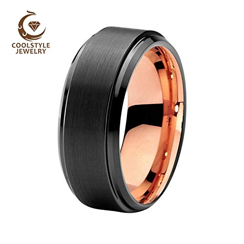 Unisex Wedding Two Tone Black Rose Gold Color Tungsten Carbide Rings | Brushed Center Stepped Beveled (8mm)