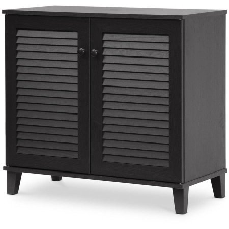 Baxton Studio Contemporary Wood Shoe Storage Cabinet with 2 Hinged front doors with Solid-wood handles to keep Adult and Kids' shoes Organized - Espresso