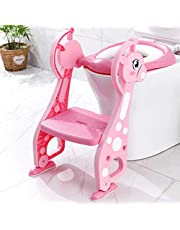 Potty Training Seat, Toilet Seat with Non-Slip Ladder Step for Kids Baby, Adjustable Steps and Comfortable Potty Seat and Handrail (Pink)