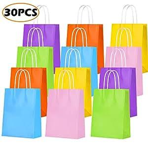 Amazon.com: Bolsas de regalo de papel Kraft para fiestas ...