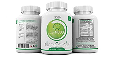 zenMOOD – Natural Anxiety Relief, Stress Reducer, and Mood Support Supplement | Made with Ashwagandha, GABA , 5-HTP & More | Boost Mood and Support Emotional Well-Being (90 Veggie Capsules)