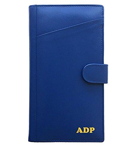 Foil Silver Cobalt (Personalized Monogrammed Cobalt Blue Leather RFID Travel Wallet)