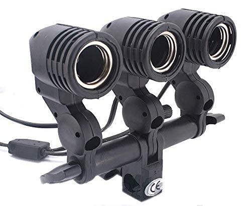 CAMROLITE Photography Studio Swivel 3 Lamp Bulb Holder E27 Socket Flash Swivel Adapter for Photo Video Studio Softbox Video Light – Black