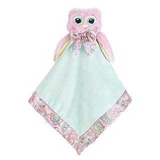 "Bearington Baby Lil' Hoots Snuggler, Pink Owl Plush Stuffed Animal Security Blanket, Lovey 15"""