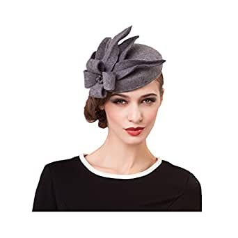 Lawliet Womens Wool Felt Fascinator Cocktail Race Fancy Cheltenham Fesitval Hat A302,Gray,One Size