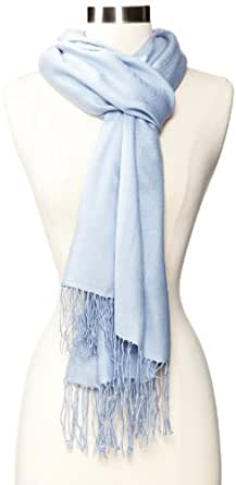 Amicale Women's 100% Cashmere Pashmina Solid Scarf, Light Blue, One Size