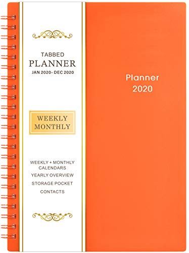"""2020 Planner - Weekly & Monthly Planner, 6.25"""" x 8.3"""", Jan - Dec, Flexible Cover,12 Monthly Tabs, 21 Notes Pages, Twin-Wire Binding with Two-Sided Inner Pocket"""