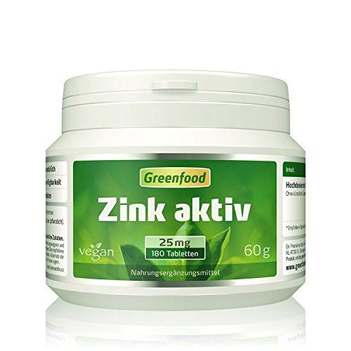 Zink, 25 mg, 180 Tabletten, vegan - stärkt die Abwehrkräfte, hilft beim Abnehmen & Kinderwunsch, Anti-Aging-Faktor. Mit Vitamin C.