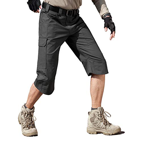 FREE SOLDIER Men's Capri Shorts Pants Casual 3/4 Water Resistant Work Short Multi Pockets Tactical Cargo Shorts (Gray ()
