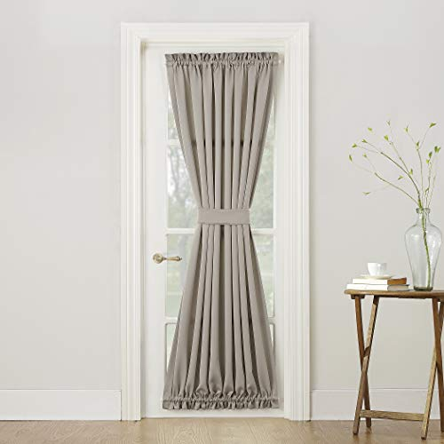 (Sun Zero Barrow Energy Efficient Door Panel Curtain with Tie Back, 54