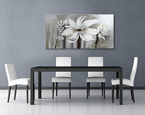 Seekland Art Hand Painted Flower Oil Painting on Canvas Floral Wall Art Abstract Black and White Lotus Modern Contemporary Decor for Bedroom Living Room Dining Room Framed Ready to Hang by Seekland Art