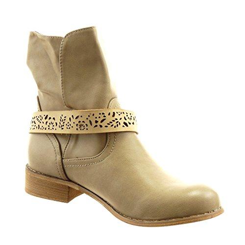 Sopily - Scarpe da Moda Stivaletti - Scarponcini cavalier alla caviglia donna perforato fibbia Tacco a blocco 3 CM - Taupe
