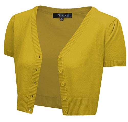 Cropped Ribbed Sweater - YEMAK Women's Short Sleeve Cropped Bolero Button Down Cardigan Sweater HB2137-HON-4X