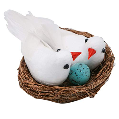 lwingflyer Foam Feather Birds Nest with Eggs Fake Doves Artificial White Pigeons Decor Bird Craft for Home Ornaments Wedding Decoration (Christmas Tree Nest In Birds)