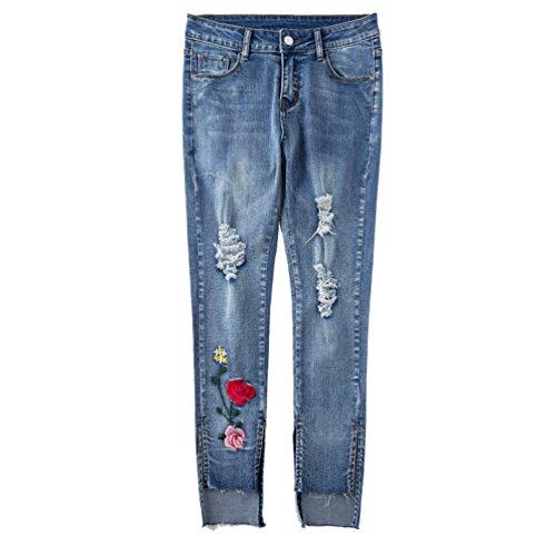 Femme Crayon Pantalon Leggings Skinny Broderie Bleu Jeans Jeans Lumire Sentao Pantalons Longue Elastique 0ZdUxq0w