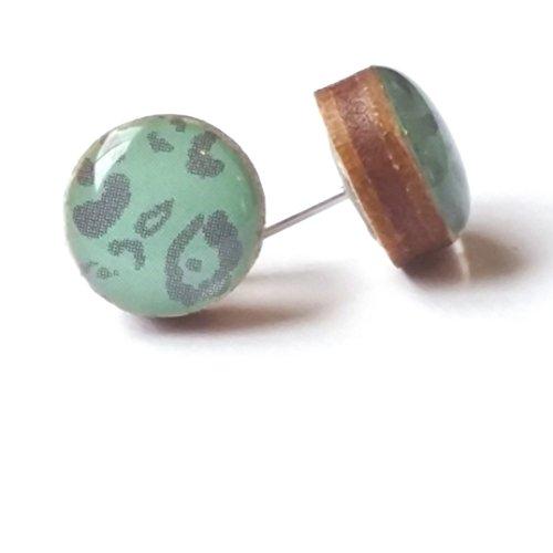 Light Green Animal Backing (Handmade green and gray animal print wooden stud earrings 10mm jewelry)