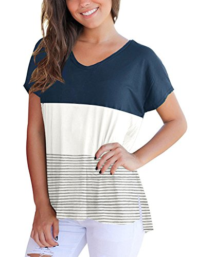 Cotton Tshirts for Women Short Sleeve Tops and Blouses for Work Summer T Shirts Blue M (Summer Block)