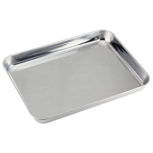 (Mujiang Stainless Steel Compact Toaster Oven Pan Tray Ovenware Professional, Heavy Duty & Healthy, Deep Edge, Superior Mirror Finish, Dishwasher Safe, 10''x8''x1'', Silvery)