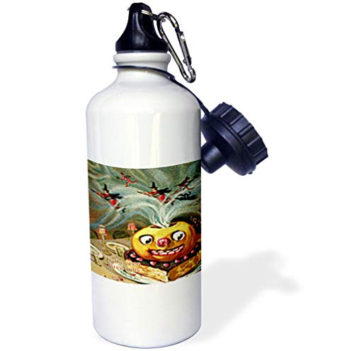 3dRose Sandy Mertens Vintage Halloween Designs - Magically Jack o Lantern on Cake with Witches and Devils (Textured) - 21 oz Sports Water Bottle (wb_53708_1)