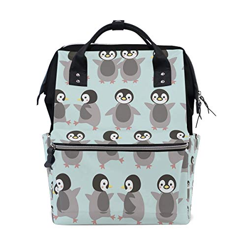 Cute Penguins Diaper Bag Backpack, Large Capacity Muti-Function Travel Backpack Nappy Bags Travel Mom Backpack for Baby Care (Penguin Diaper Bag)