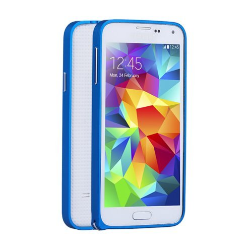 Neway Armor Metal Buckle Mutil Color 0.7mm Slim Aircraft Grade Aluminum Metal cover case (No Screw Necessary) for Samsung Galaxy S5 G900 with Bottons /Upgrade,Royal Blue