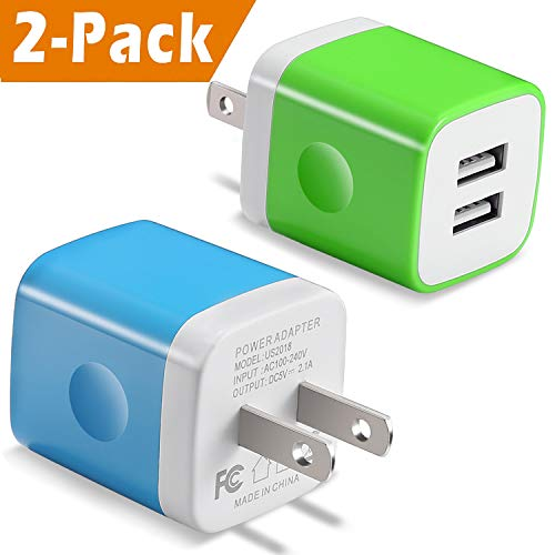 USB Wall Charger, BEST4ONE 2-Pack 2.1A/5V Dual Port USB Plug Power Adapter Charging Cube Brick Compatible with Moto, iPhone Xs/XR/X 8/7/6, Kindle, Samsung, LG, Android Cell Phone (Blue, ()