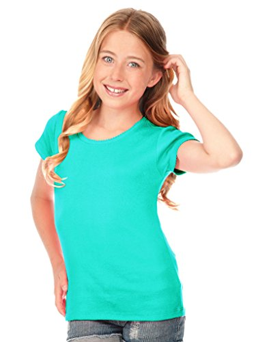 Kavio! Big Girls 7-16 Scalloped Scoop Neck Top Caribbean Blue -